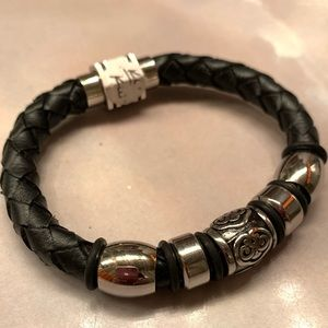 Leather Accessories - Men's  Leather and Steel, Wrist Band
